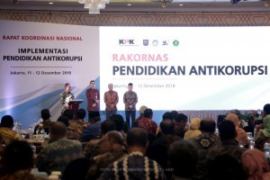 A number of minister and leaders of KPK speak at National Coordination Meeting on Anti-Corruption Education, in Jakarta, Tuesday (11/12)
