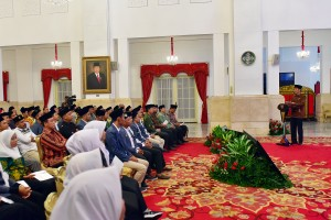 Presiden Jokowi memberikan sambutan pada pembukaan Kongres IPNU-IPPNU 2018, di Istana Negara, Jakarta, Jumat (21/12) pagi. (Foto: AGUNG/Humas)