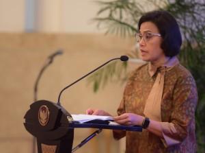 Menkeu Sri Mulyani Indrawati menyampaikan laporan pada acara Penyerahan DIPA dan Daftar Alokasi Transfer ke Daerah dan Dana Desa Tahun 2019, di Istana Negara, Jakarta, Selasa (11/12) pagi. (Foto: Rahmat/Humas)