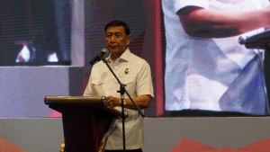 Coordinating Minister for Political, Legal, and Security Affairs Wiranto delivers his remarks at the 2019 Coordination Meeting on State Border Management Control in Jakarta, Monday (28/1).