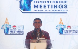 Menko Polhukam Wiranto memberikan sambutan pada Egmont Meeting Group 2019 di Jakarta, Rabu (30/1) malam. (Foto: Humas Kemenko Polhukam)