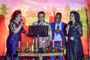KSP saat menghadiri perayaan Natal Lembaga Kepresidenan dan Kementerian Koordinator di Gedung Krida Bhakti Kementerian Sekretariat Negara, Jakarta, Sabtu (12/1) malam. (Foto: Humas/Agung)