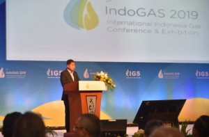 Energy and Mineral Resources Minister Ignasius Jonan speaks at the 9th Indogas Conference and Exhibition, at the Plenary Hall JCC, Jakarta, Tuesday (19/2). (Photo by: Energy and Mineral Resources Ministry)