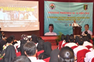 Minister of Village, Development of Disadvantaged Regions and Transmigration Eko Putro Sandjojo delivers his remarks during dissemination of Ministerial Regulation Number 16 of 2018, in Lampung, Sunday (3/2). Photo by: PR of Ministry of Village, Development of Disadvantaged Regions and Transmigration.