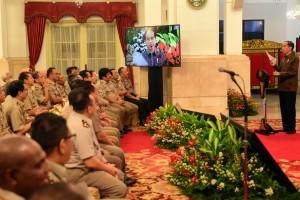 Presiden Jokowi memberikan sambutan pada pembukaan Rakernas Kementerian ATR/BPN, di Istana Negara, Jakarta, Rabu (6/2) siang. (Foto: Rahmat/Humas)
