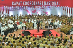 President Jokowi delivers his remarks during the National Coordination Meeting for Village Administration at Ecovention Ocean Ecopark, Jakarta, Wednesday (20/2). Photo by: Deny S/PR.