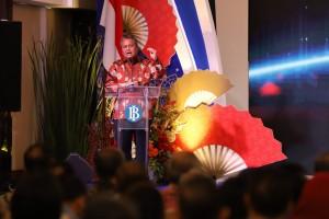 Gubernur BI Perry Warjiyo menyampaikan sambutan pada peluncuran buku Laporan Perekonomian Indonesia (LPI) tahun 2018, di Jakarta, Rabu (27/3) pagi. (Foto: Depkom BI)