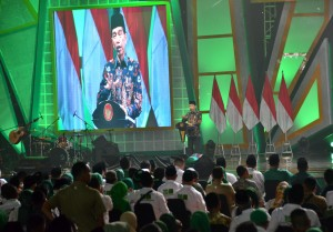 President Jokowi delivers his remarks at the 46th Anniversary of the United Development Party (PPP) at Ecovention Ocean Ecopark, Jakarta, Thursday (28/2). (Photo: Deny S/PR)