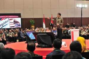 Presiden Jokowi memberikan arahan pada pembukaan Rakornas Investasi, di Nusantara Hall ICE BSD, Kabupaten Tangerang, Selasa (12/3) pagi. (Foto: JAY/Humas)