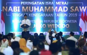 Presiden saat menghadiri peringatan Isra Mikraj 1440 Hijriah/2019 Masehi di Gedung Olahraga (GOR) Pandawa, Sukoharjo, Jawa Tengah, Rabu (3/4). (Foto: Humas/Rahmat)