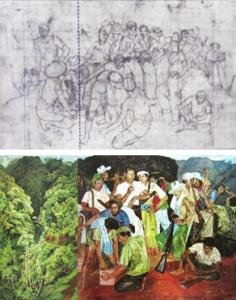 Foto Sketsa dan Lukisan Persiapan Gerilya dan Pemandangan di Kaliurang  ( Bung Karno Kolektor & Patron Seni Rupa Indonesia, Mikke Susanto)
