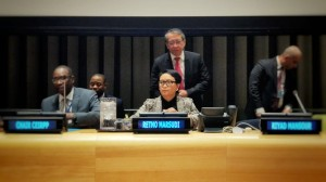 Indonesian Minister of Foreign Affairs Retno Marsudi attends the UN Forum on Palestine, at the UN Headquarters, New York, Thursday (4/4). (Photo by: Ministry of Foreign Affairs)