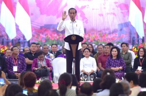: President Jokowi gives remarks on the 10th Church and Community Conference of the Indonesian Communion of Churches (PGI) 2019, Manado, North Sulawesi, Sunday (31/3). (Photo by: Rahmat/PR)