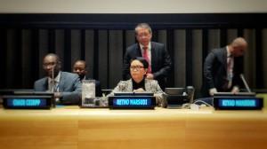 Menlu Retno saat menghadiri UN Forum on Palestine, di Markas Besar PBB, New York, Kamis (4/4) Waktu Setempat. (Foto: Kemlu).