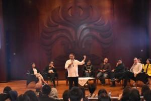 Menteri Kominfo saat menghadiri Pekan Komunikasi 2019 di Balai Sidang Universitas Indonesia, Depok, Senin (8/4). (Foto: Kemkominfo)
