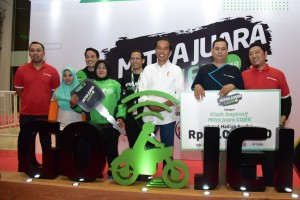 President Jokowi attends a gathering with Go-Jek driver partners at Ecovention Ancol, Jakarta, Thursday (11/4) (Photo by: Public Relations Division/Oji)