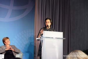 Menkeu saat hadir pada forum IMF di Washington D.C, Jumat, (12/04) waktu setempat. (Foto: Kemenkeu).