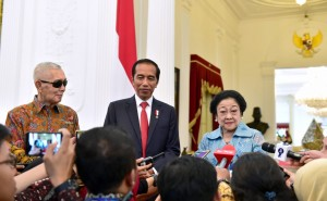 President Jokowi receives Megawati and Try Sutrisno at the Merdeka Palace, Tuesday (21/5).