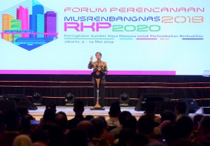 President Jokowi delivers his remarks at the Opening of the 2019 National Development Planning Conference (Musrenbangnas) in Central Jakarta, Thursday (9/5). (Photo by: Rahmat /PR).
