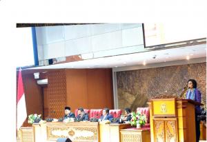 Menkeu Sri Mulyani Indrawati menyampaikan usulan Pemerintah untuk RAPBN 2020, dalam Rapat Paripurna DPR RI, di Jakarta, Senin (20/5) siang. (Foto: Humas Kemenkeu)
