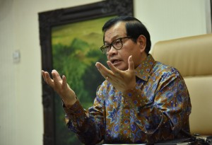 Cabinet Secretary Pramono Anung on his interview of the National Awakening Day in Jakarta, Monday (20/5). (Photo by: Jay/PR).