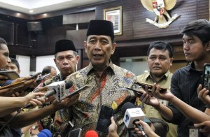 Coordinating Minister for Political, Legal, and Security Affairs Wiranto tells reporters on preparations for the election lawsuit at the Constitutional Court, on Thursday (13/6). (Photo by: Coordinating Ministry for Political, Legal, and Security Affairs)