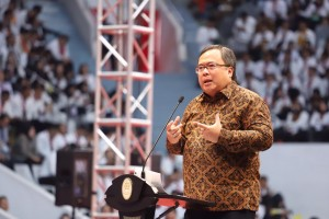 Minister of PPN/Head of Bappenas Bambang Brojonegoro speaks at Presidential Lecture 2019, at Istora Senayan, Jakarta, Wednesday (25/7). (Photo by: Ministry of PANRB PR)