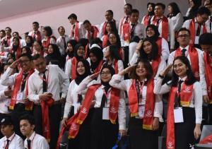 Sebagian CPNS peserta Pembukaan Latihan Dasar, di Istora Senayan, Jakarta, Rabu (24/7) siang. (Foto: OJI/Humas)