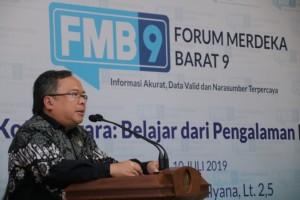 Menteri PPN/Kepala Bappenas Bambang Brodjonegoro berbicara pada Forum Merdeka Barat 9, di Jakarta, Rabu (10/7) siang. (Foto: Biro Humas Kominfo).