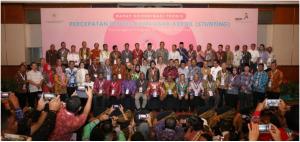 Para peserta Rakornis Percepatan Pencegahan 2019, di Hotel Grand Sahid, Jakarta, Rabu (3/7), berfoto bersama. (Setwapres RI)