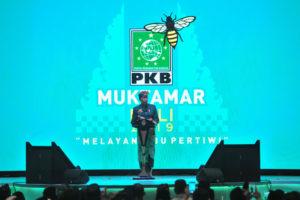 Presiden Jokowi memberikan sambutan pada pembukaan Muktamar PKB 2019, di The Westin Resort Nusa Dua, Kabupaten Badung, Bali, Selasa (20/8) malam. (Foto: JAY/Humas)