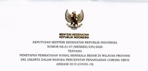 Menkes Tetapkan PSBB untuk DKI Jakarta