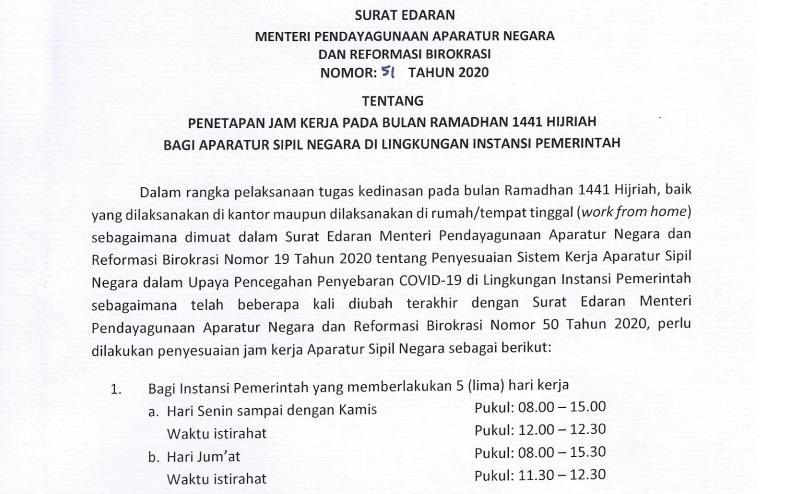 Sekretariat Kabinet Republik Indonesia Inilah Jam Kerja Asn Pada Bulan Ramadan 1441 Hijriah Sekretariat Kabinet Republik Indonesia