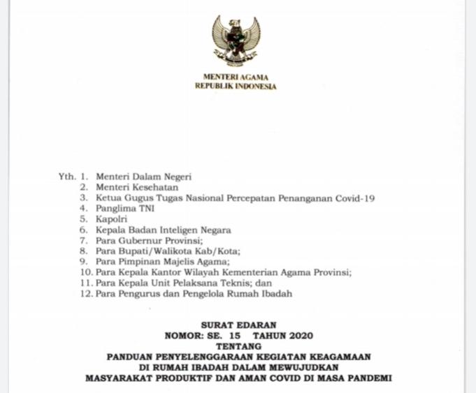 Sekretariat Kabinet Republik Indonesia Terbitkan Se 15 2020 Menag Rumah Ibadah Harus Jadi Contoh Pencegahan Persebaran Covid 19 Sekretariat Kabinet Republik Indonesia