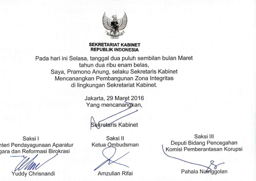 Sekretariat Kabinet Republik Indonesia Pencanangan Zona Integritas Sekretariat Kabinet Republik Indonesia