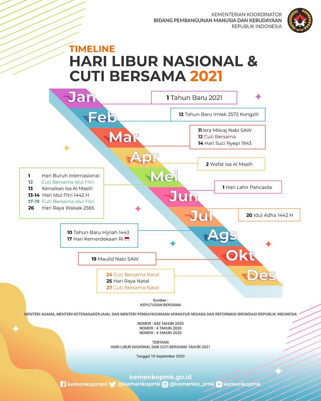 Infografis Libur dan Cuti Bersama Tahun 2021.