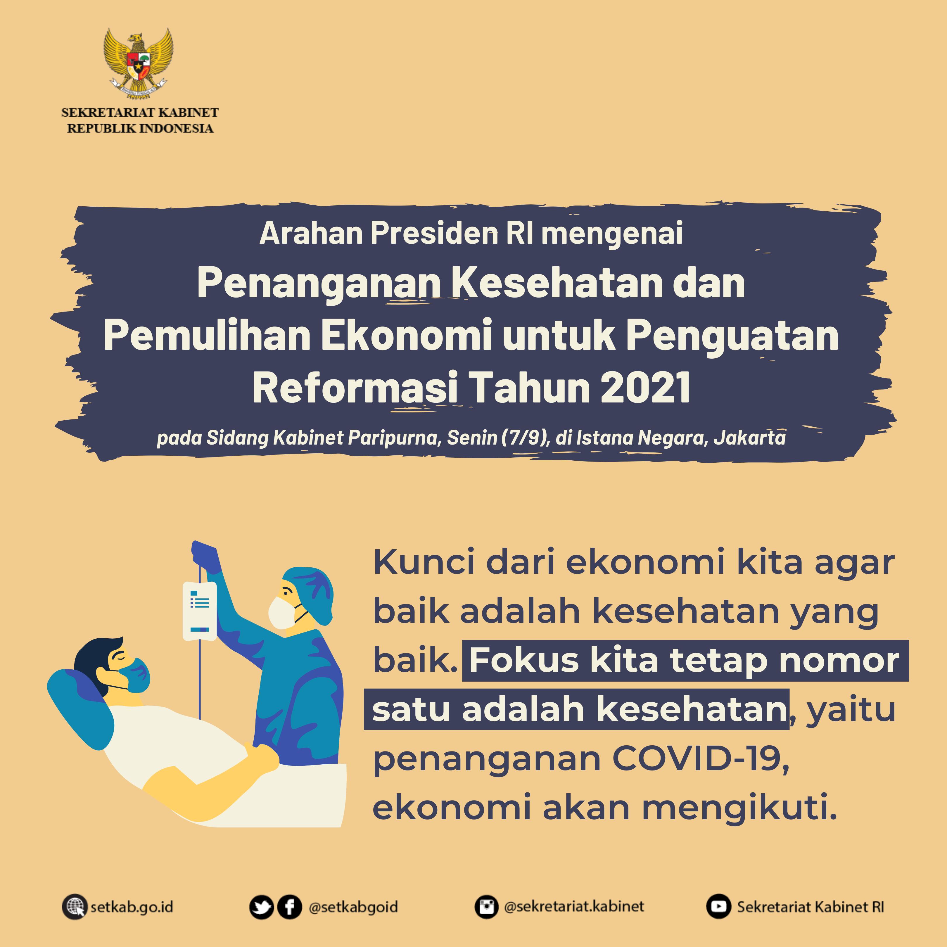 """Arahan Presiden RI pada Sidang Kabinet Paripurna mengenai """"Penanganan Kesehatan dan Pemulihan Ekonomi untuk Penguatan Reformasi Tahun 2021"""""""