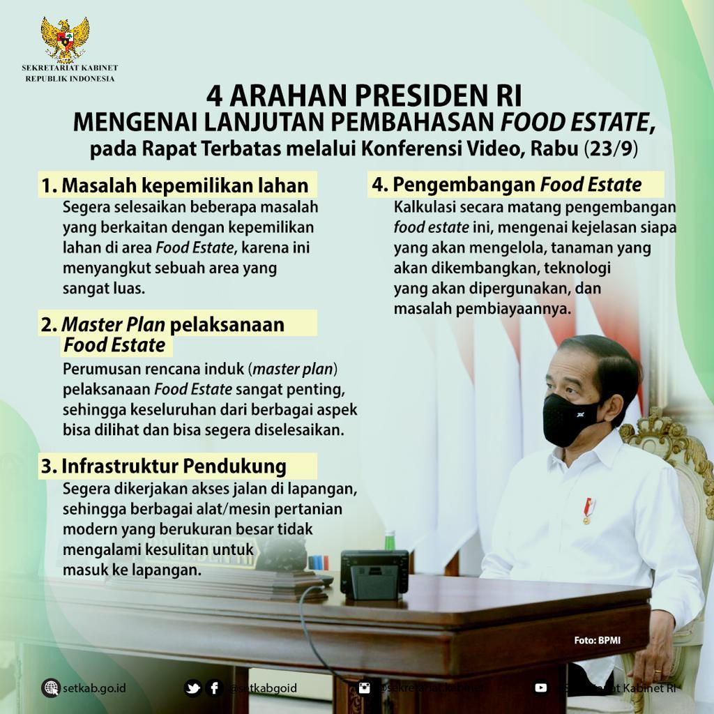 """Arahan Presiden Joko Widodo pada Rapat Terbatas terkait """"Lanjutan Pembahasan Food Estate"""""""