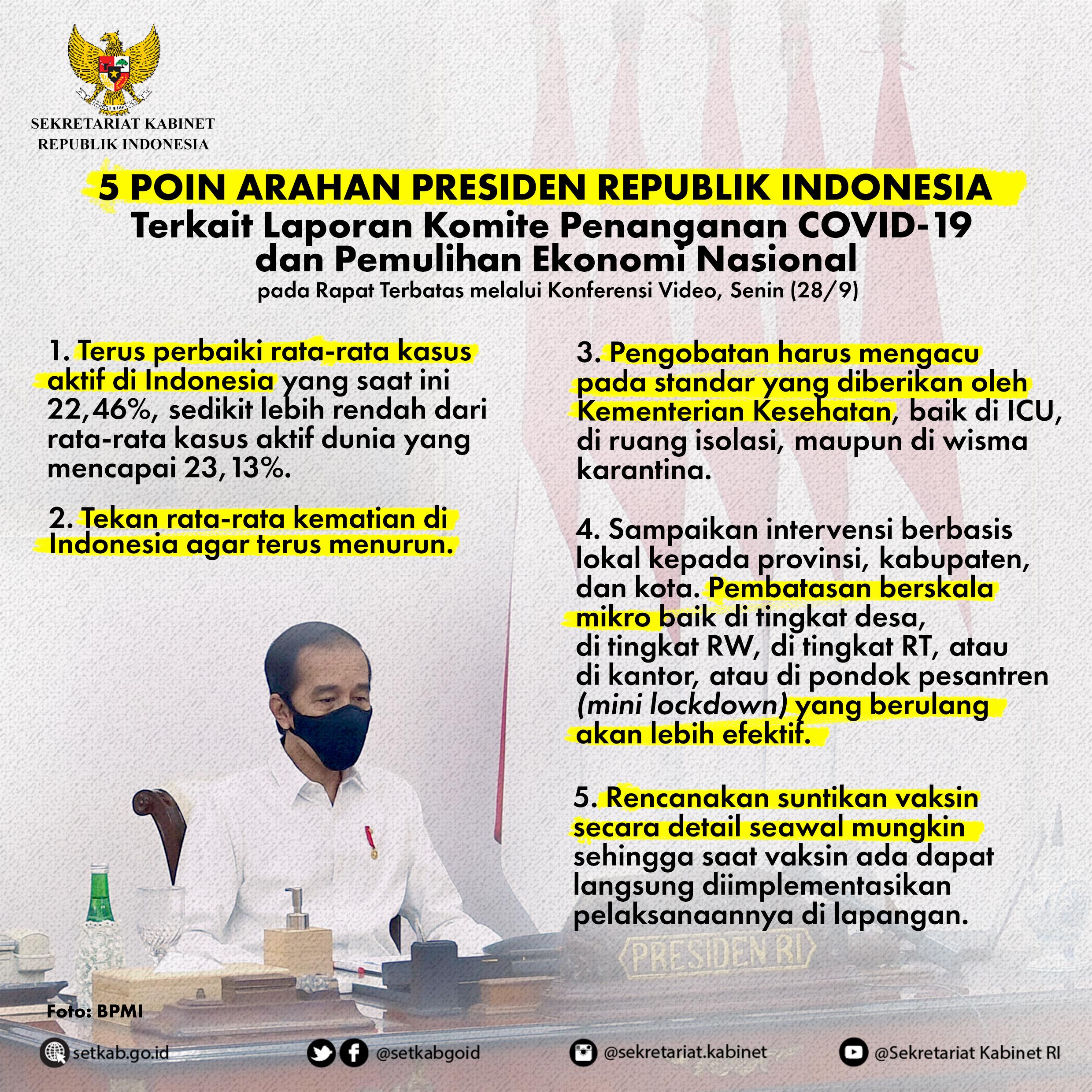 """Arahan Presiden Joko Widodo pada Rapat Terbatas terkait """"Laporan Komite Penanganan #COVID19 dan Pemulihan Ekonomi Nasional"""""""