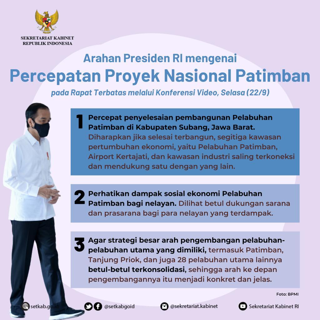"""Arahan Presiden Joko Widodo pada Rapat Terbatas terkait """"Percepatan Proyek Strategis Nasional Patimban"""""""