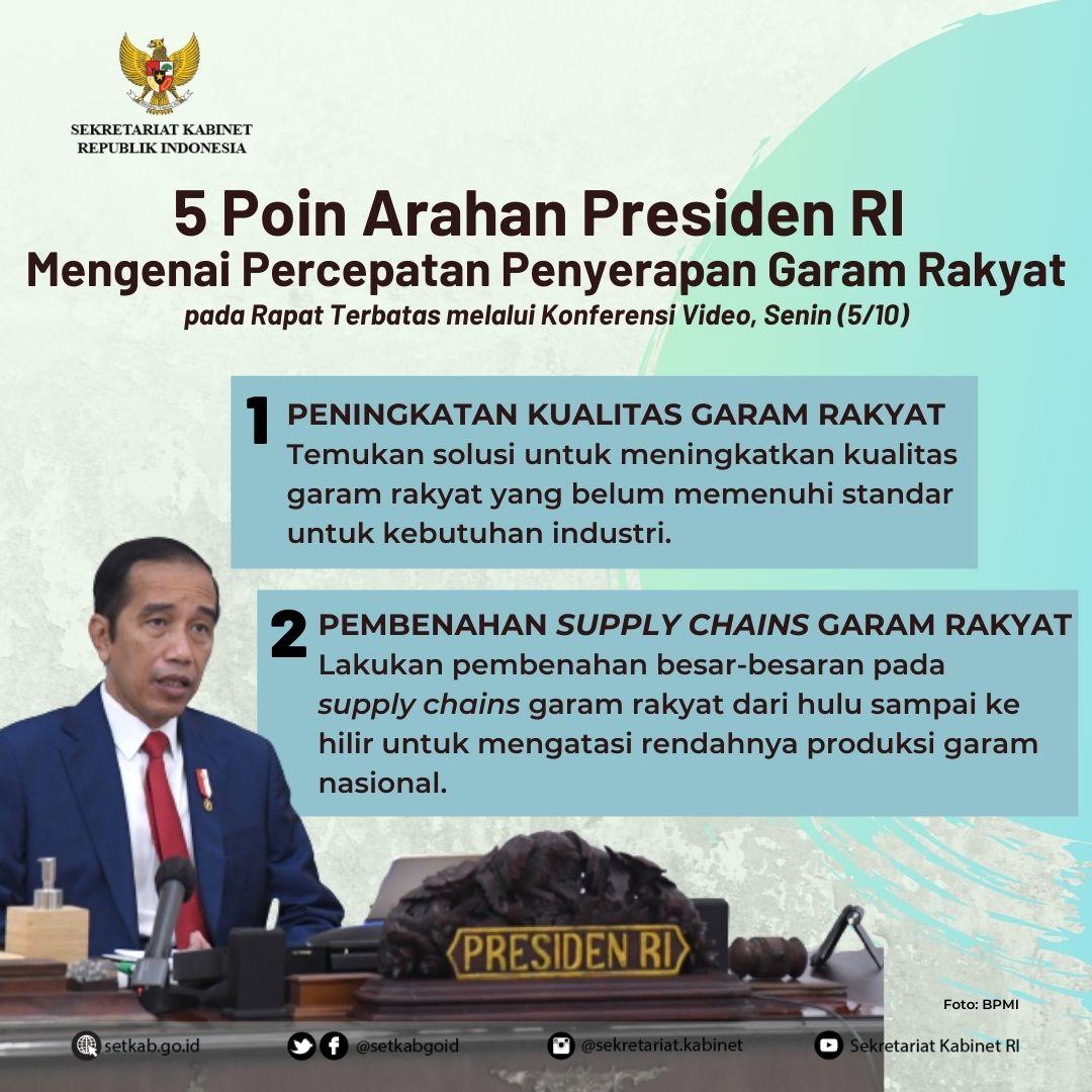 5 Arahan Presiden Joko Widodo pada Rapat Terbatas mengenai Percepatan Penyerapan Garam Rakyat, Senin (5/10)
