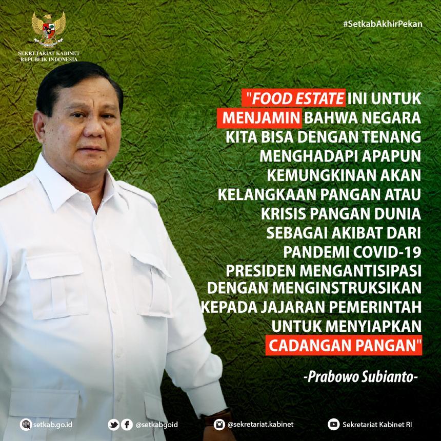 """Keterangan Pers Menteri Pertahanan usai Rapat Terbatas terkait """"Lanjutan Pembahasan Food Estate"""""""