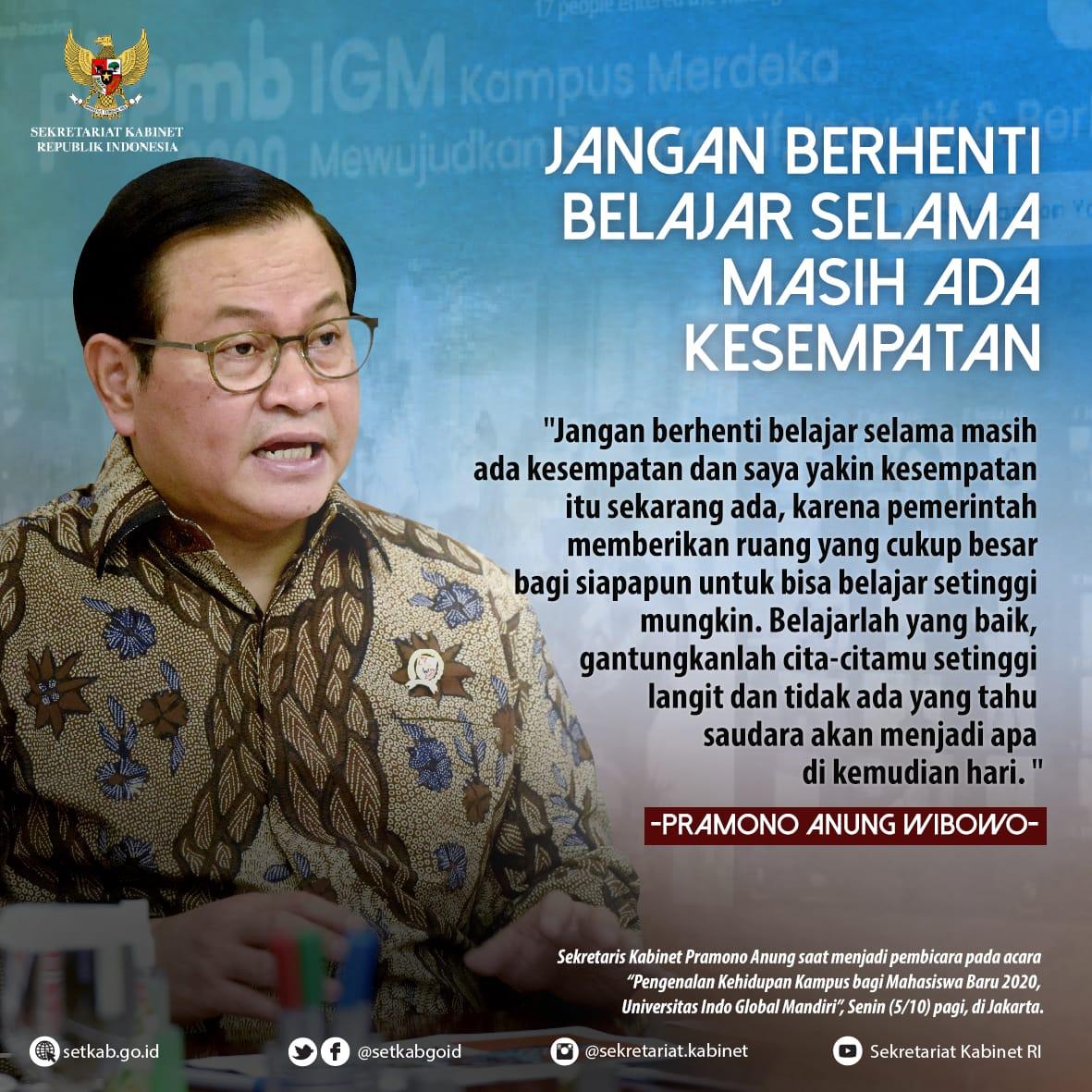 """Pesan Sekretaris Kabinet pada """"Pengenalan Kehidupan Kampus bagi Mahasiswa Baru 2020, Universitas Indo Global Mandiri"""", Senin (5/10)"""