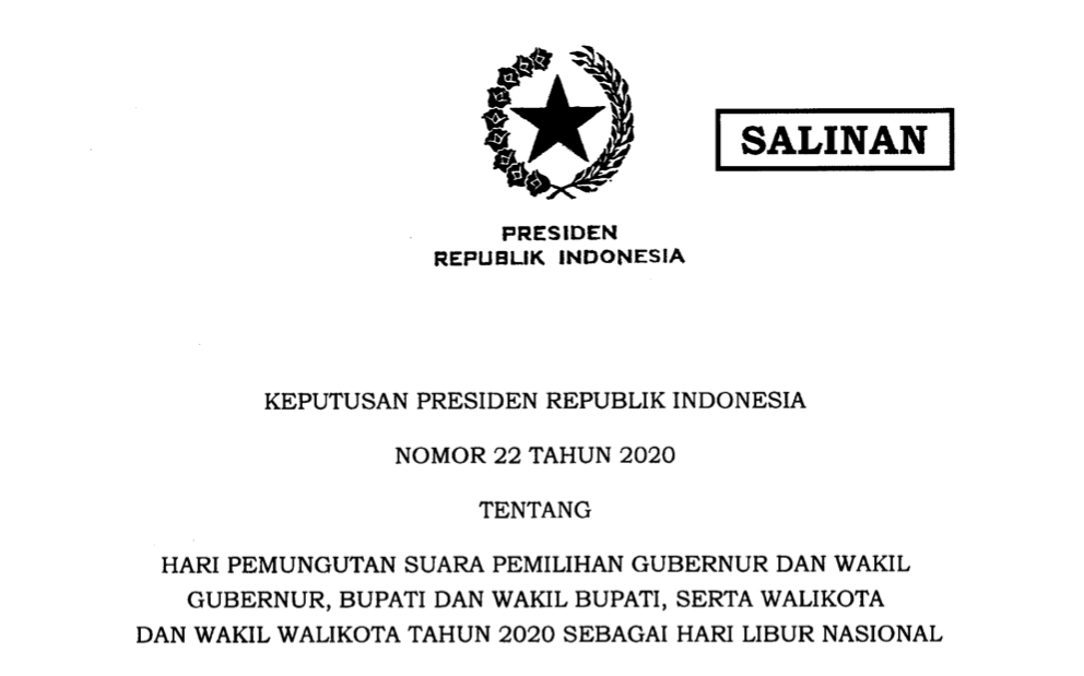 Keputusan Presiden (Keppres) Nomor 22 Tahun 2020, yang ditandatangani oleh Presiden Joko Widodo pada tanggal 27 November 2020.