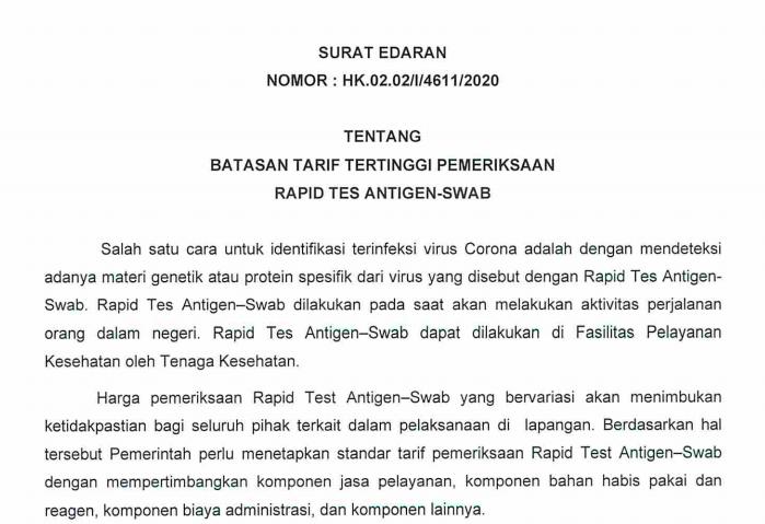 Sekretariat Kabinet Republik Indonesia Pemerintah Tetapkan Batasan Tarif Pemeriksaan Rapid Test Antigen Swab Sekretariat Kabinet Republik Indonesia