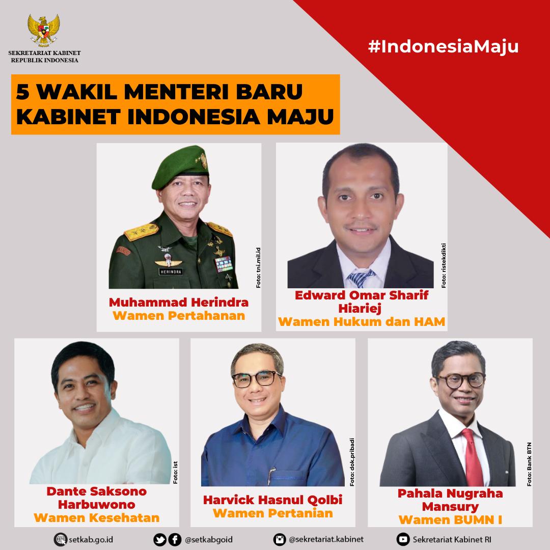 Wakil Menteri Kabinet Indonesia Maju yang Dilantik pada Rabu (23/12/2020)