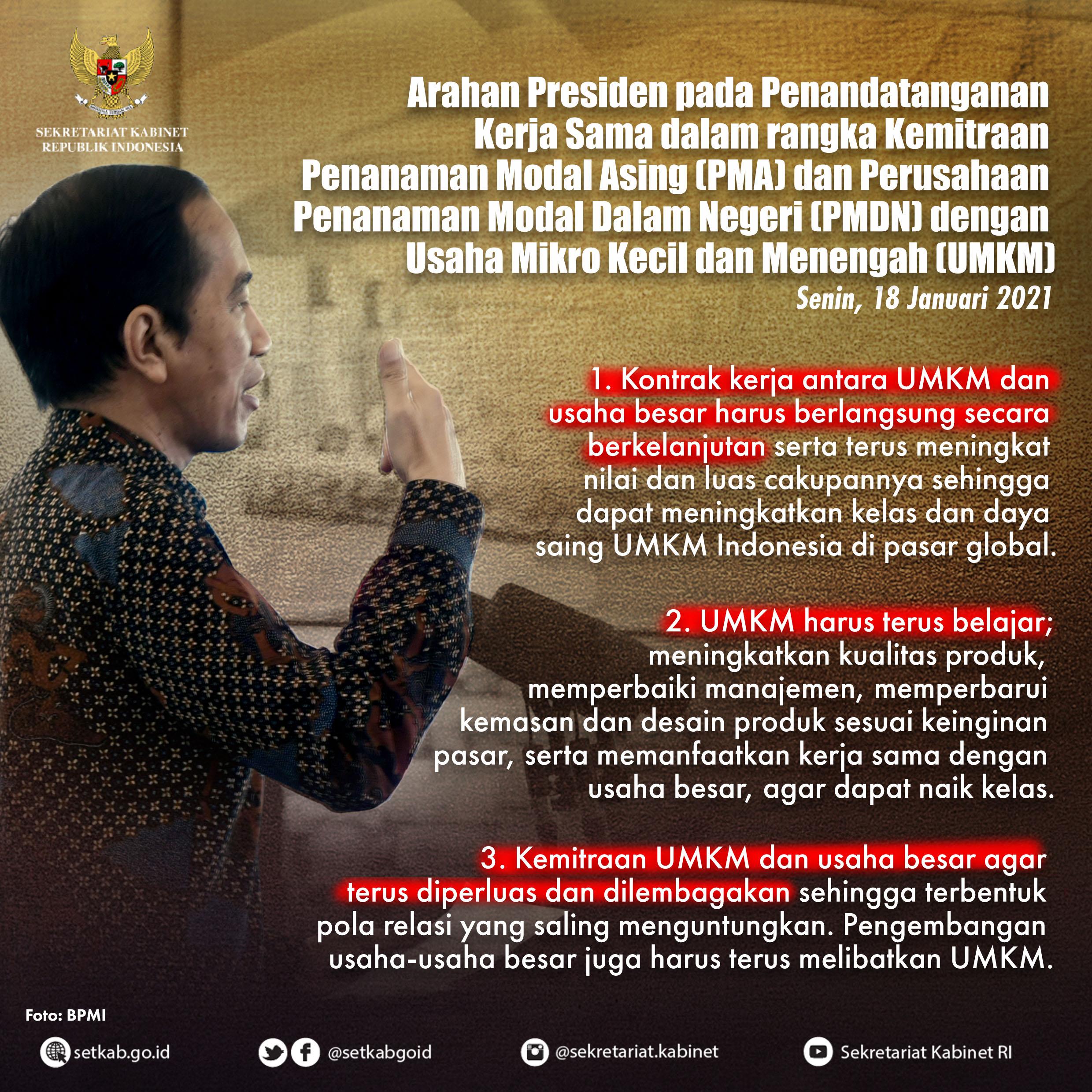 Arahan Presiden RI pada Penandatanganan Kerja Sama dalam rangka Kemitraan UMKM dengan Usaha Besar, Senin (18/01/21)