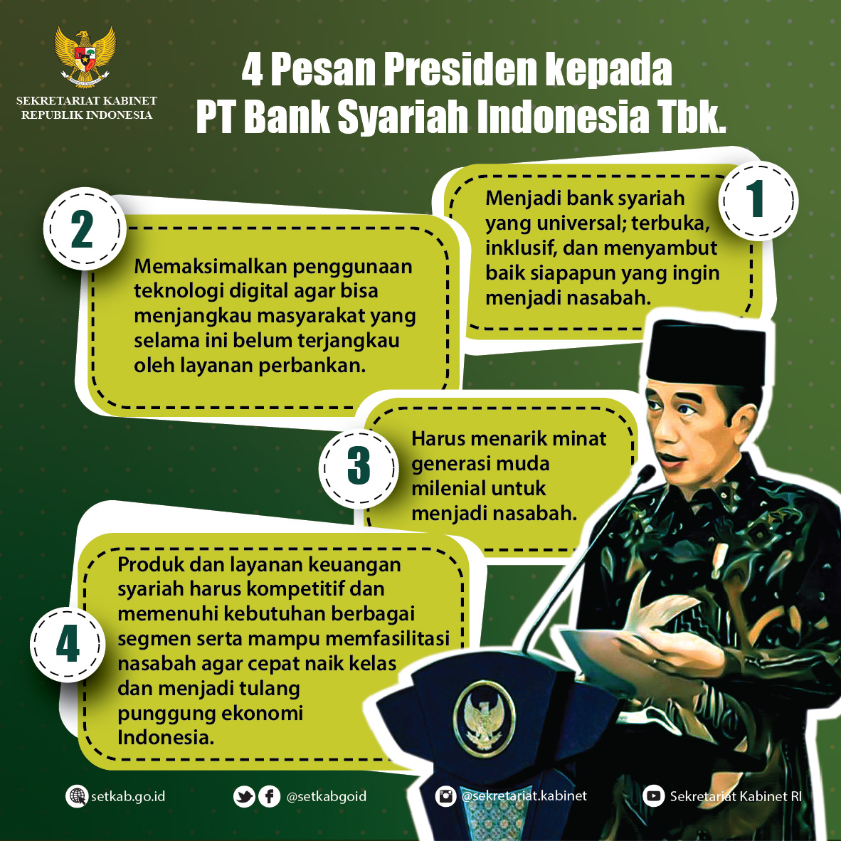Arahan Presiden RI pada Peresmian PT. Bank Syariah Indonesia Tbk, Senin (01/02/2021)