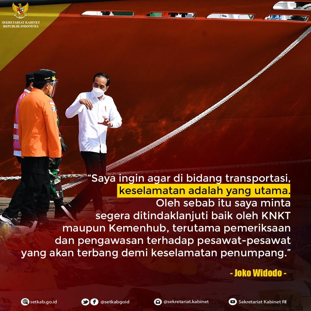 Pesan Presiden RI saat Meninjau Posko Darurat Evakuasi Pesawat Sriwijaya Air SJ-182 di Dermaga EX JICT II Pelabuhan Tanjung Priok, Jakarta, Rabu (20/01/21)