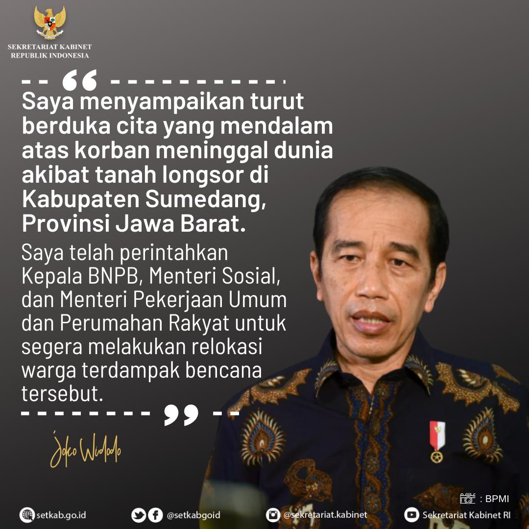 Ucapan Duka Presiden RI kepada Korban Terdampak Tanah Longsor di Kabupaten Sumedang, Jawa Barat